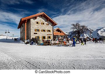 イタリア, アルプス, レストラン, ∥ディ∥, campiglio, リゾート, madonna, スキー, ...