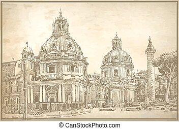 イタリア, オリジナル, ローマ, デジタル, 都市の景観, 図画