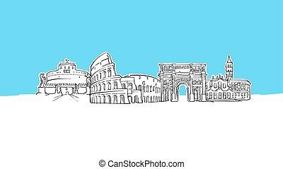 イタリア, パノラマ, ベクトル, スケッチ, ローマ, スカイライン