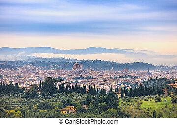 イタリア, パノラマ, 朝, フィレンツェ, cityscape., 航空写真, 丘, fiesole, 霧が濃い, 光景