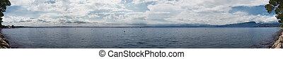イタリア, パノラマ, 空, 湖, 曇り, gardasee
