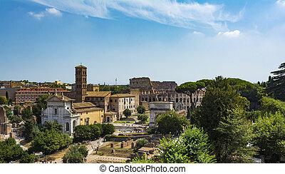 イタリア, フォーラム, ローマ, パノラマである, ローマ人, 丘, colosseum, palantine, 光景