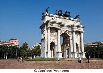 イタリア, ロンバーディー, sempione, 平和, ミラノ, 公園, アーチ