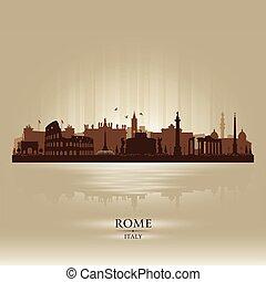 イタリア, ローマ, 都市, ベクトル, シルエット, スカイライン