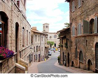 イタリア, 中世, pietro, 通り, 教会, assisi, san