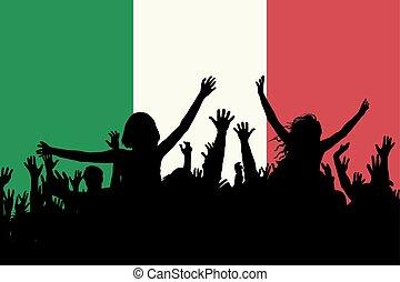 イタリア, 人々, 国民, 祝う, シルエット, 日
