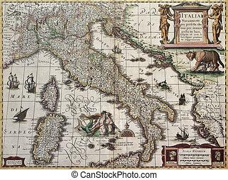 イタリア, 古い, 地図
