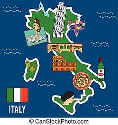 イタリア, 場所, 旅行, シンボル, 有名, set.