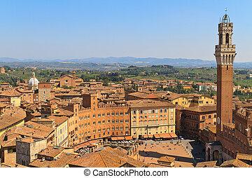 イタリア, 広場, campo, del, pubblico, palazzo, siena