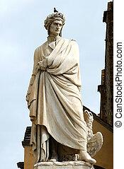 イタリア, 広場, croce, -, dante, santa, 像, フィレンツェ