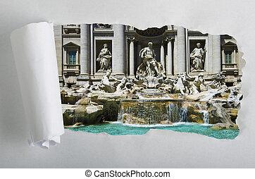 イタリア, 引き裂かれた, ローマ, ペーパー, 噴水, trevi