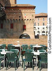 イタリア, -, 残り, 下に, 城, ferrara