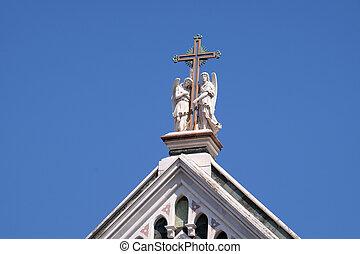 イタリア, 神聖, バシリカ, franciscan, 天使, 有名, 教会, -, フィレンツェ, cross), ∥ディ∥, santa, (basilica, 2, 交差点, 保有物, croce