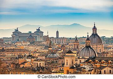イタリア, 航空写真, ローマ, 光景
