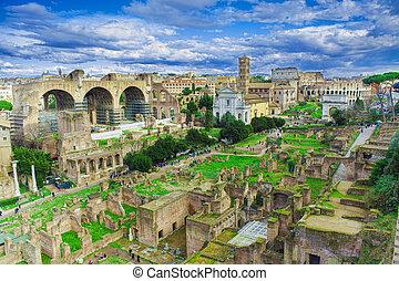 イタリア, 都市, フォーラム, ローマ人, ローマ, 台なし