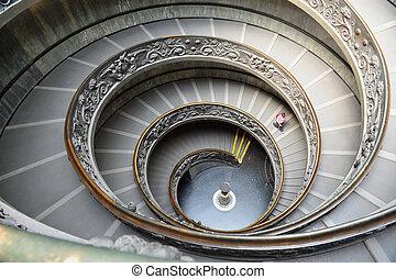 イタリア, 階段, 博物館, ローマ, らせん状に動きなさい, バチカン