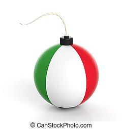 イタリア, 隔離された, 爆弾, 砲弾, 旗, バックグラウンド。, 白