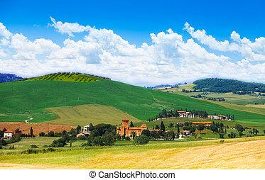 イタリア, 風景, トスカーナ, 村