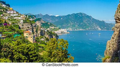 イタリア, campania, amalfi 海岸, 景色の 眺め