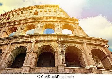 イタリア, coloseum, 空, に対して, 明るい, ローマ, bluse