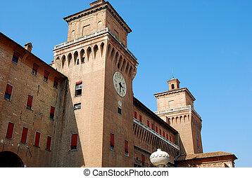 イタリア, estense, -, ferrara, 城