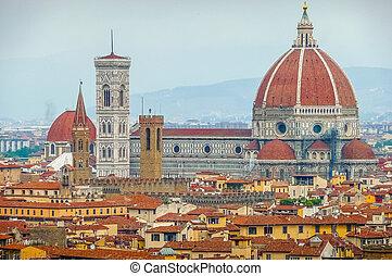 イタリア, giotto's, del, santa, 大聖堂, fiore, フィレンツェ, campanile, マリア