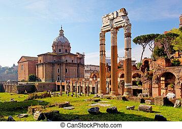 イタリア, romanum, -, ローマ, フォーラム