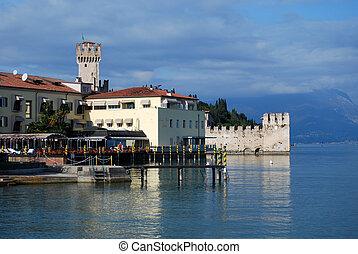イタリア, -, sirmione, 湖, garda, 城, brescia