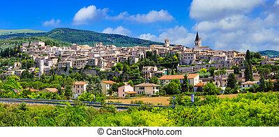 イタリア, -, umbria, ほとんど, spello, 美しい, 村
