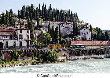 イタリア, verona, veneto, 堤防, adige, 川