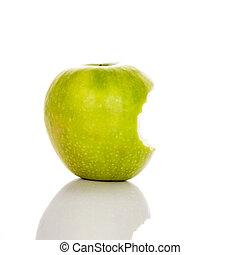 イメージ, かまれた, 緑のリンゴ