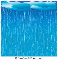 イメージ, ぬれた, 日, rain., 雲, ベクトル, 暗い