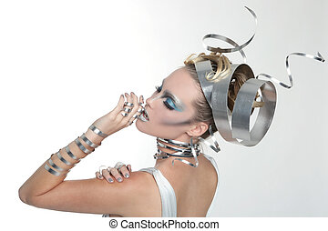 イメージ, の, a, 女, 身に着けていること, スタイルを作られる, 金属 仕事