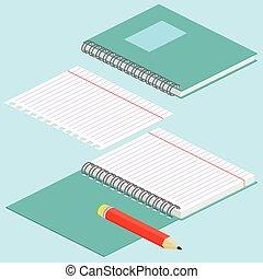 イメージ, らせん状に動きなさい, 青, イラスト, 鉛筆, 等大, ノート, 内側を覆われた, 背景, ベクトル, paper., 開いた, illustration., ノート, 不良部分