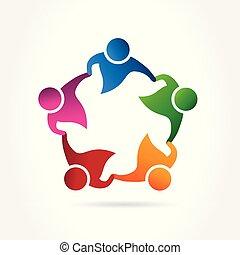 イメージ, アイコン, テンプレート, チームワーク, 人々, ロゴ, ベクトル, 抱擁, 網