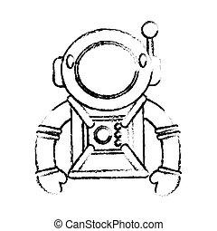 イメージ, スーツ, 宇宙飛行士, スケッチ, スペース