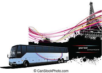 イメージ, パリ, 観光客, backg, バス