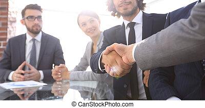 イメージ, パートナー, ビジネス, 背景, 握手