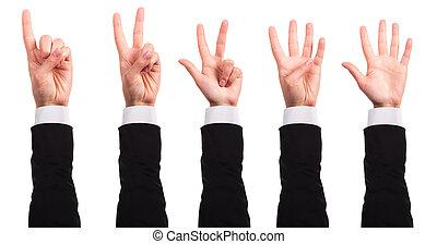 イメージ, ビジネスマン, 指を 指すこと