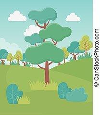 イメージ, フィールド, 群葉, 風景, 草木の栽培場, 木, 薮, 自然