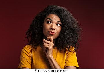 イメージ, ブルネット, アフリカ, 彼女, アメリカ人, 感動させる顎, 思慮深い女性