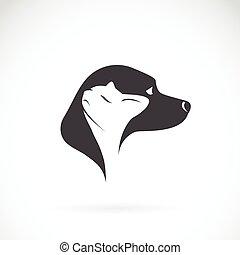 イメージ, ベクトル, ねこ, 白い背景, 犬