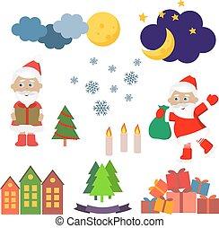 イメージ, ベクトル, セット, クリスマス