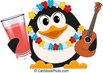 イメージ, ベクトル, ペンギン, ホリデー, 小さい, 花輪, スタイル, 漫画, かわいい, 色, 花, hawaii., イラスト, guitar.