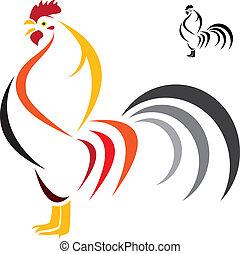 イメージ, ベクトル, 雄ん鶏