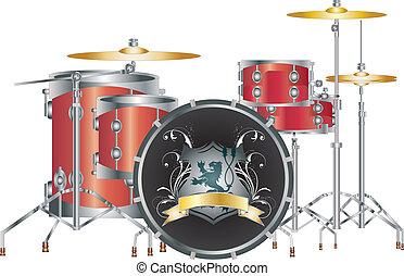 イメージ, ベクトル, drumset