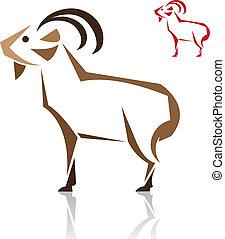 イメージ, ベクトル, goat