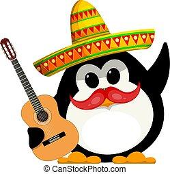 イメージ, ベクトル, sombrero., ペンギン, 子供, 面白い, carnival., わずかしか, 漫画, style., ギターの色, イラスト, メキシコ人, 衣装, 若い