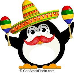 イメージ, ベクトル, sombrero., ペンギン, 子供, maracas, 面白い, carnival., わずかしか, 漫画, style., 色, イラスト, メキシコ人, 衣装, 若い