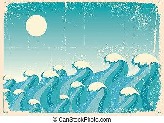 イメージ, ペーパー, 青, 古い, 背景, 海, ベクトル, 型, waves.